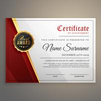 design de modelo de certificado bonito com melhor símbolo de prêmio