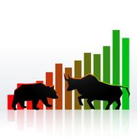 projeto de conceito de mercado de ações com touro e urso mostrando lucro um