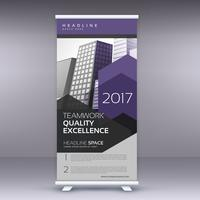 purple arrow style modern roll up banner template
