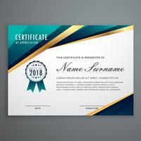 projeto certificado com formas douradas de luxo. modelo de diploma