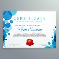 certificado de diploma moderno com círculos azuis