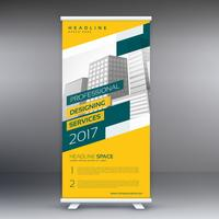 Amarillo moderno roll up standee banner vector plantilla