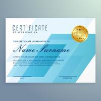 modèle de conception de certificat bleu élégant