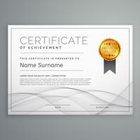modelo de design de certificado de diploma com forma ondulada