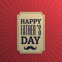 Etiqueta del día del padre feliz en fondo rojo