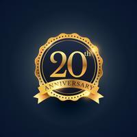 Etiquette de badge de célébration du 20e anniversaire de couleur dorée
