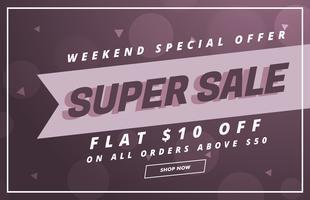 Super verkoop vector banner of voucher ontwerpsjabloon