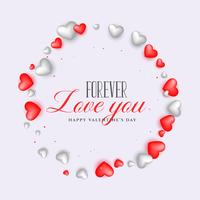 love background with 3d hearts for valentine's day