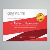 Diploma certificado plantilla vector diseño en color rojo