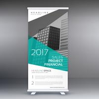 elegant blue and gray business standee roll up template design