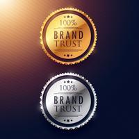 varumärkesförtroende etikettdesign i guld och silver