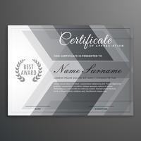 modelo de diploma de design elegante certificado cinza