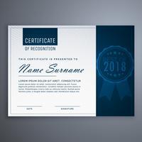 modèle de certificat d'appréciation bleu propre