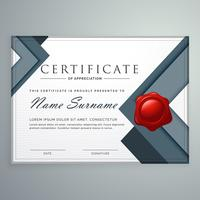 Increíble diseño de plantilla de certificado moderno con formas geométricas