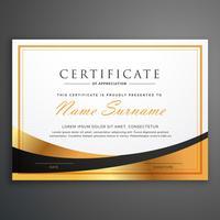 certificado plantilla de diseño con ola dorada