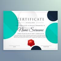 design de diploma de certificado mínimo com círculos