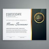 Premium schwarze Zertifikat Vektor Designvorlage