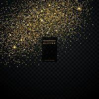 gyllene glitterpartikelstoft transparent bakgrund