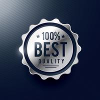 diseño de etiqueta de la mejor insignia de plata de calidad