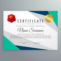 plantilla de diseño elegante certificado geométrico