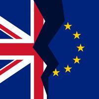 Vereinigtes Königreich und Europäische Union gebrochenes Flag-Konzept