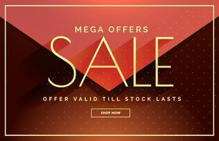 Diseño de banner de mega venta con colores cálidos.