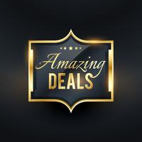 amazing deals golden label offers vector badge