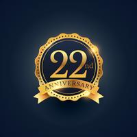 Etiquette insigne de célébration du 22e anniversaire en couleur dorée