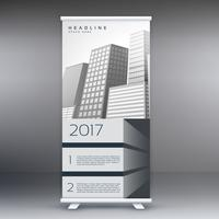 grå stande rulle upp banner mall design koncept för marketin