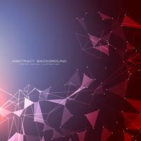 Fondo futurista con puntos, líneas y triángulos con luz.