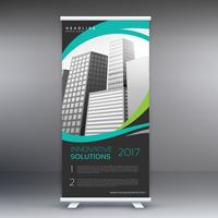 moderno roll up stand banner con linee ondulate ed edifici