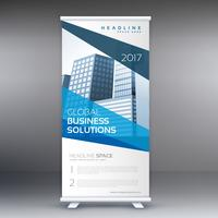 modern blue standee roll up banner design with geometric shapes