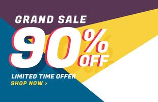 design de banner moderno de venda geométrica com detalhes da oferta