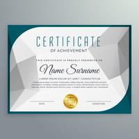 Plantilla de diseño de certificado simple creativo con forma abstracta