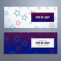 4 juillet bannières définies dans les couleurs blanc et bleu