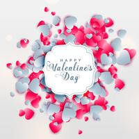 conception de voeux Saint Valentin avec coeurs dispersés