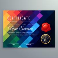dark certificate design with colorful mosaic shapes