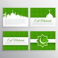 eid festival greeting cards set