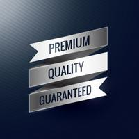 premium quality guaranteed silver ribbon label