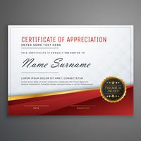 stylish red and golden premium certificate design template