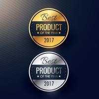meilleur produit de l'année badges en couleurs or et argent