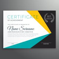 modelo de certificado de vetor moderno com formas geométricas