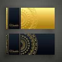 conjunto de cartão preto e ouro premium mandala banner