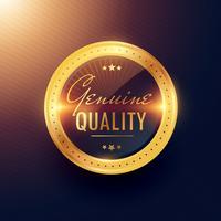 äkta kvalitets premium guldmärke och märkesdesign