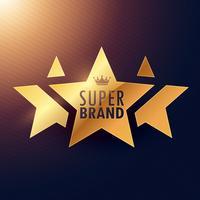 etiqueta dourada da estrela super da marca três para sua promoção