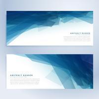 bannières abstraites bleues dans l'ombre bleue
