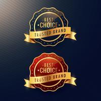 bästa valet pålitligt varumärke gyllene etikett och märkesuppsättning