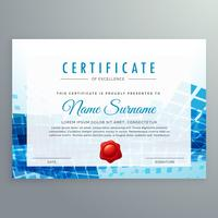achievement certificate template with abstract blue shapes