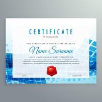 modelo de certificado de realização com formas abstratas azuis