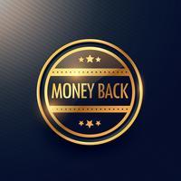 garantia de dinheiro de volta de ouro design de etiqueta